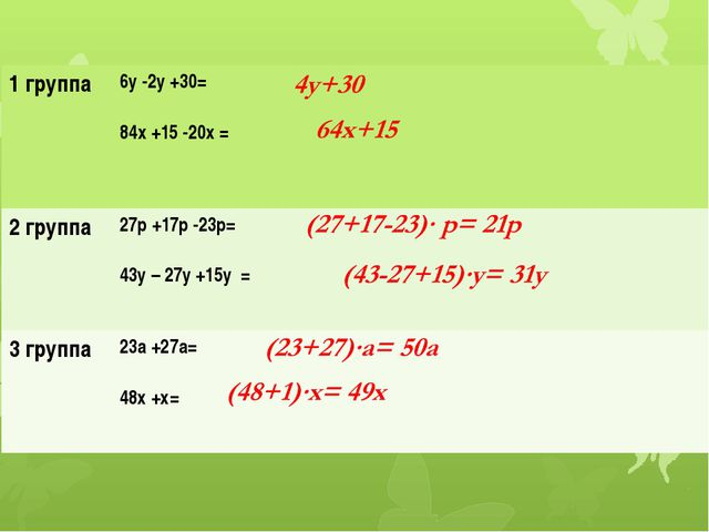 1 группа 6у -2у +30= 84х+15 -20х= 2 группа 27р +17р -23р= 43у – 27у +15у = 3...