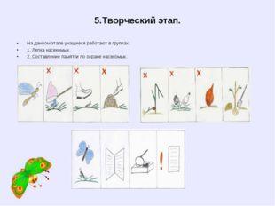 5.Творческий этап. На данном этапе учащиеся работают в группах. 1. Лепка насе