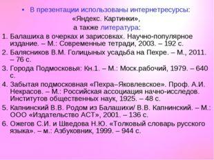 В презентации использованы интернетресурсы: «Яндекс. Картинки», а также литер