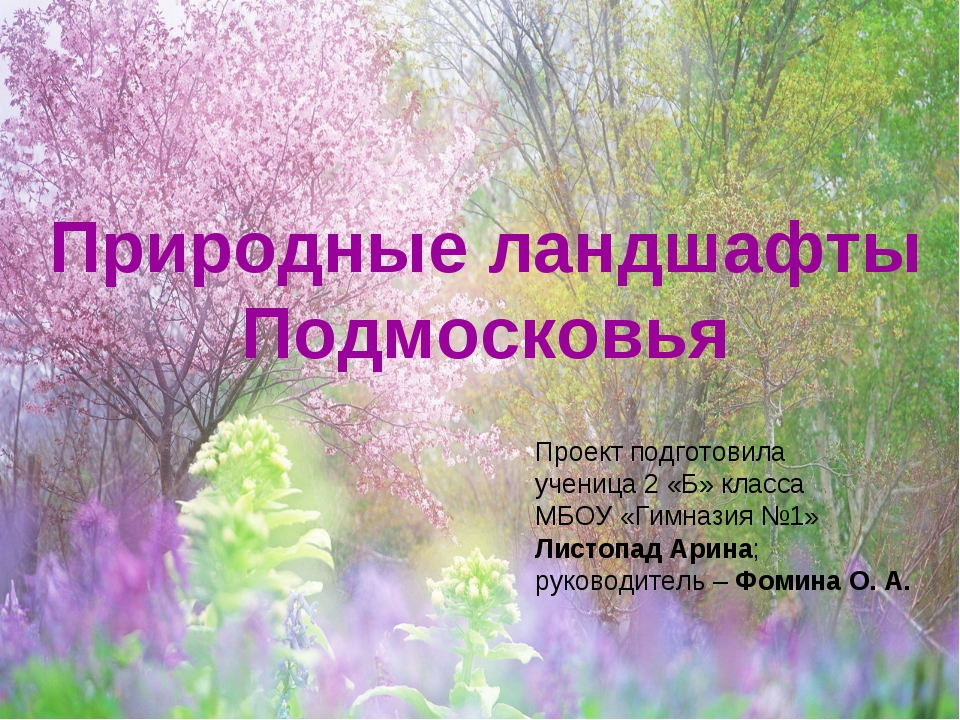 Природные ландшафты Подмосковья Проект подготовила ученица 2 «Б» класса МБОУ...