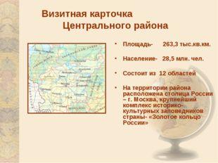Визитная карточка Центрального района Площадь- 263,3 тыс.кв.км. Население- 28