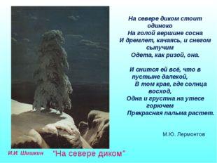 """И.И. Шишкин """"На севере диком"""" На севере диком стоит одиноко На голой вершине"""