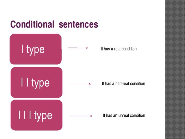 Conditional sentences It has a real condition It has a half-real condition It...