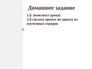 Домашнее задание 1.§ (конспект урока) 2.§ сделать проект по одному из изученн