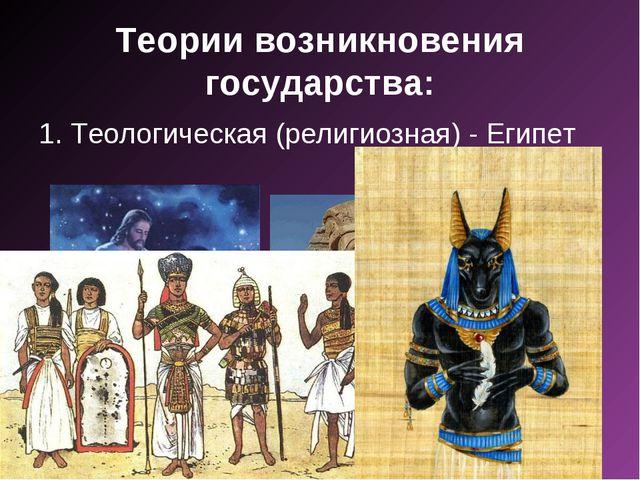 Теории возникновения государства: 1. Теологическая (религиозная) - Египет