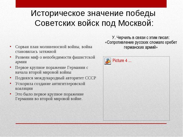 Историческое значение победы Советских войск под Москвой: Сорван план молниен...