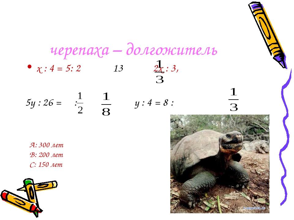 черепаха – долгожитель х : 4 = 5: 2 13 2х : 3, 5у : 26 = : у : 4 = 8 : А: 300...