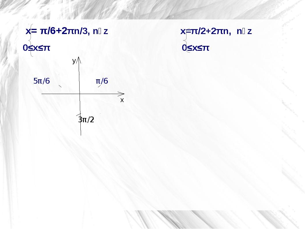 x= π/6+2πn/3, nϵz                            x=π/2+2πn,  nϵz      x= π/6+2πn...