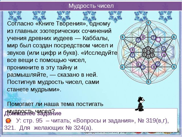 Мудрость чисел Подведение итогов, рефлексия, домашнее задание. Согласно «Кни...