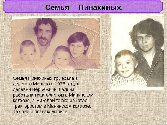 Семья Пинахиных. Семья Пинахиных приехала в деревню Манино в 1978 году из де...