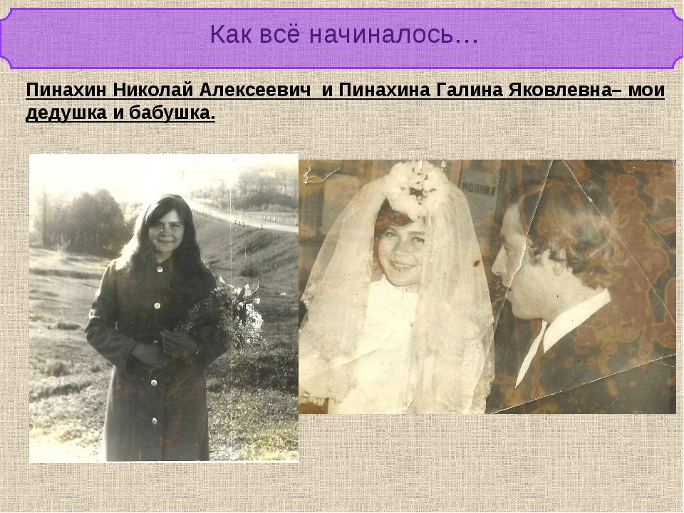 Как всё начиналось… Пинахин Николай Алексеевич и Пинахина Галина Яковлевна– м...