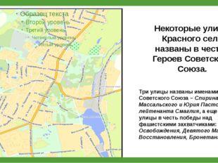Некоторые улицы Красного села названы в честь Героев Советского Союза. Три ул