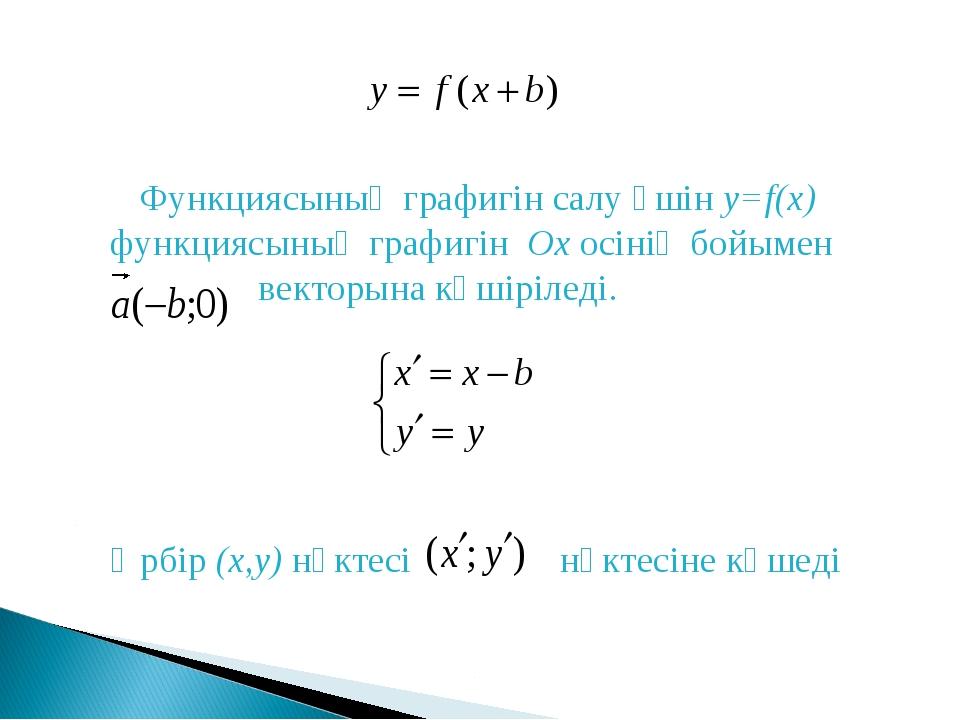 Функциясының графигін салу үшін y=f(x) функциясының графигін Ох осінің бойым...