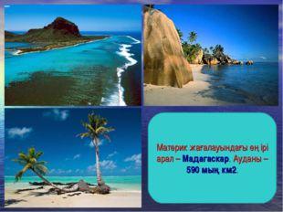 Материк жағалауындағы ең ірі арал – Мадагаскар. Ауданы – 590 мың км2.