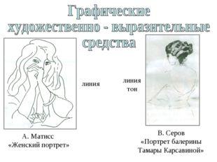линия А. Матисс «Женский портрет» линия тон В. Серов «Портрет балерины Тамары