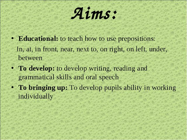 Aims: Educational: to teach how to use prepositions: In, at, in front, near,...
