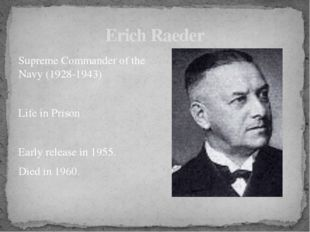 Supreme Commander of the Navy (1928-1943) Life in Prison Early release in 195