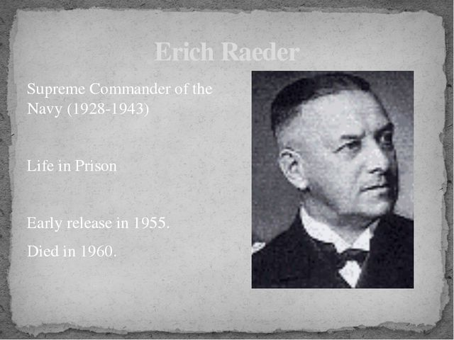 Supreme Commander of the Navy (1928-1943) Life in Prison Early release in 195...