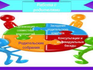 Работа с родителями Организация совместных мероприятий Заседания родительског
