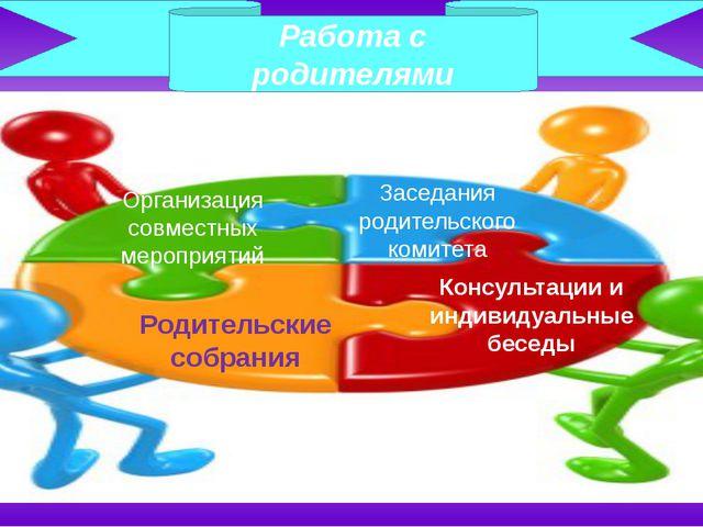 Работа с родителями Организация совместных мероприятий Заседания родительског...
