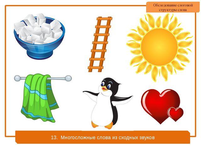 13. Многосложные слова из сходных звуков Обследование слоговой структуры слова
