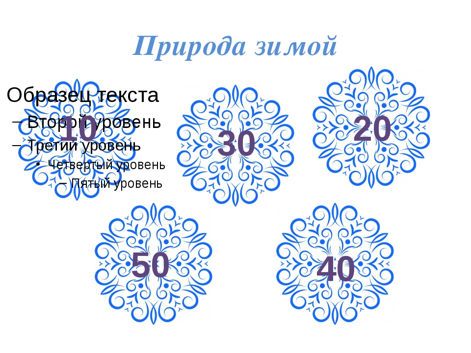 Новогодние вопросы 10 20 30 40 50