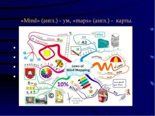 «Mind» (англ.) - ум, «maps» (англ.) - карты. карта ума непосредственная памят