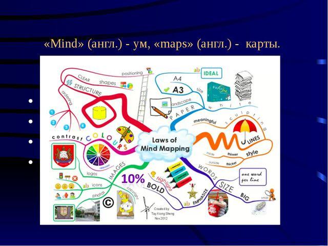 «Mind» (англ.) - ум, «maps» (англ.) - карты. карта ума непосредственная памят...