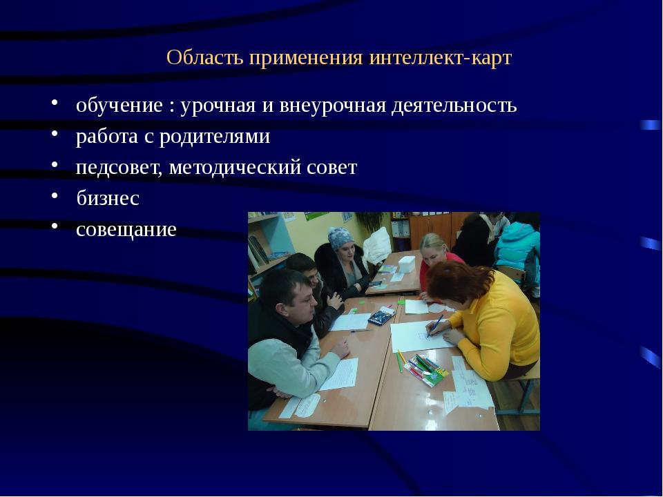 Область применения интеллект-карт обучение : урочная и внеурочная деятельност...