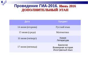 Проведение ГИА-2016. Июнь 2016 ДОПОЛНИТЕЛЬНЫЙ ЭТАП ДатаПредмет 14 июня (втор
