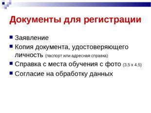 Документы для регистрации Заявление Копия документа, удостоверяющего личность