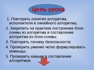 Цель урока 1. Повторить понятия алгоритма, исполнителя и линейного алгоритма;