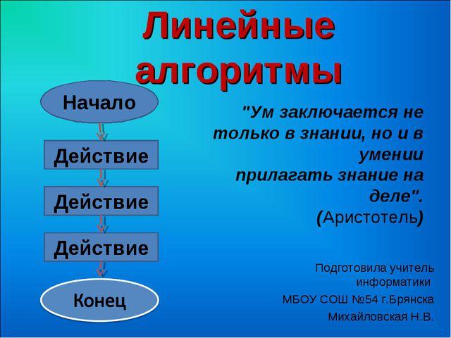 Линейные алгоритмы Подготовила учитель информатики МБОУ СОШ №54 г.Брянска Мих...