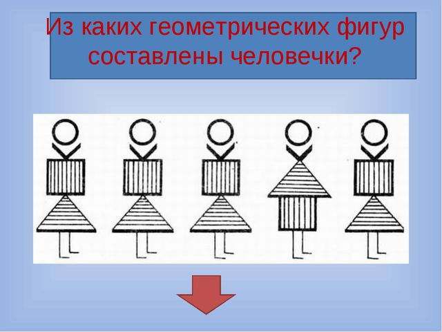 Из каких геометрических фигур составлены человечки?