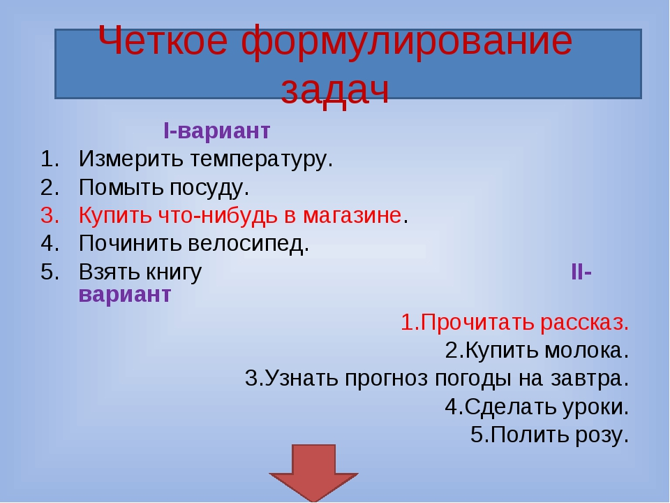Четкое формулирование задач I-вариант Измерить температуру. Помыть посуду. Ку...