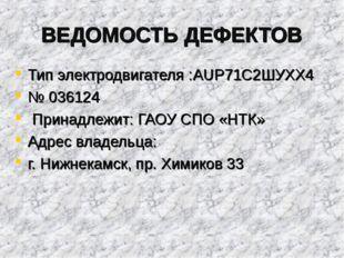 ВЕДОМОСТЬ ДЕФЕКТОВ Тип электродвигателя :AUP71С2ШУХХ4 № 036124 Принадлежит: Г