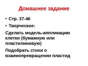 Домашнее задание Стр. 37-40 Творческое: Сделать модель-аппликацию клетки (бум