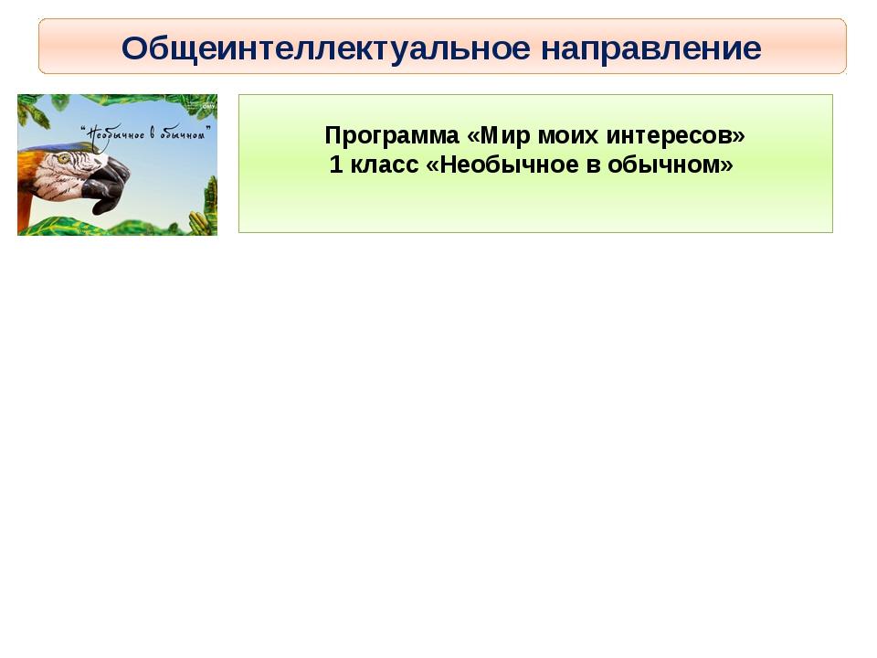 Общеинтеллектуальное направление Программа «Мир моих интересов» 1 класс «Необ...