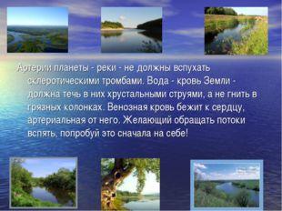 Артерии планеты - реки - не должны вспухать склеротическими тромбами. Вода -