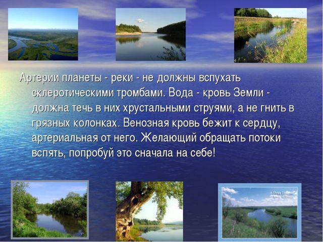 Артерии планеты - реки - не должны вспухать склеротическими тромбами. Вода -...