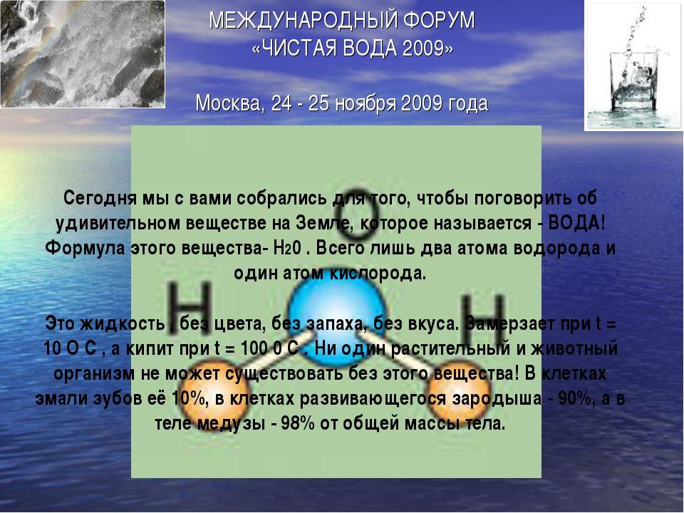 МЕЖДУНАРОДНЫЙ ФОРУМ «ЧИСТАЯ ВОДА 2009» Москва, 24 - 25 ноября 2009 года С...