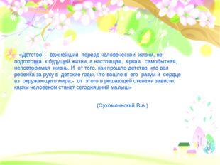 «Детство - важнейший период человеческой жизни, не подготовка к будуще