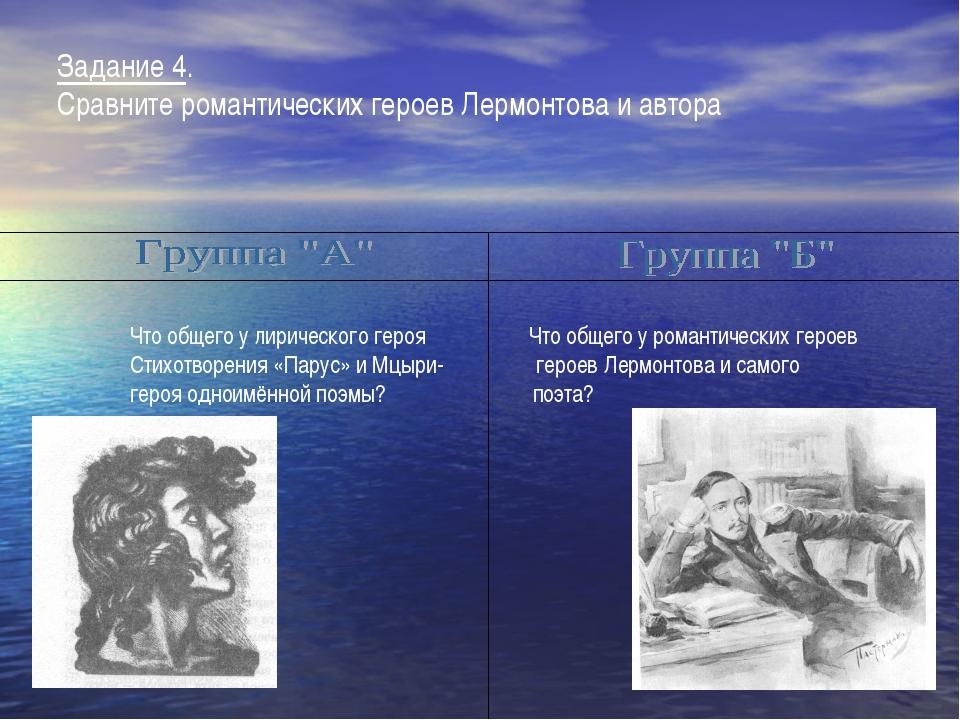 . Задание 4. Сравните романтических героев Лермонтова и автора Что общего у л...