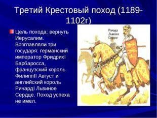 Третий Крестовый поход (1189-1102г) Цель похода: вернуть Иерусалим. Возглавля