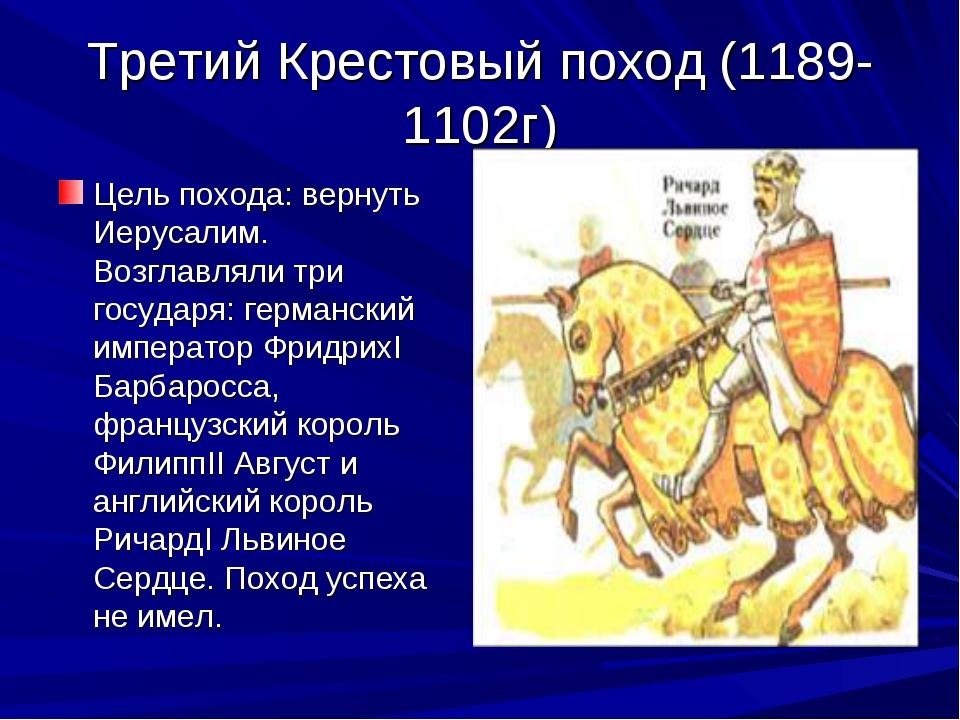 Третий Крестовый поход (1189-1102г) Цель похода: вернуть Иерусалим. Возглавля...