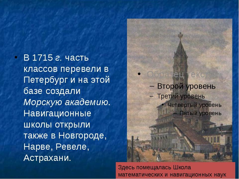 В 1715 г. часть классов перевели в Петербург и на этой базе создали Морскую...