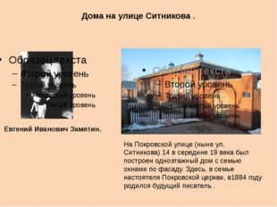 Дома на улице Ситникова . Евгений Иванович Замятин. На Покровской улице (ныне