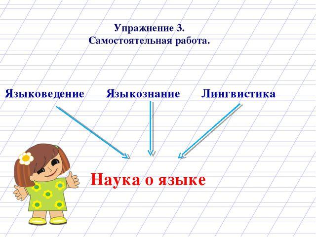 Упражнение 3. Самостоятельная работа. Языковедение Языкознание Лингвистика На...