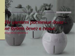 Не цветет растение дома - не будет денег в семье. (Народная примета).