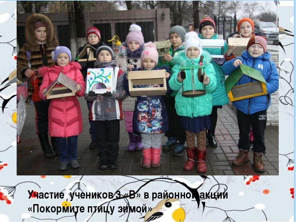 Участие учеников 3 «В» в районной акции «Покормите птицу зимой»